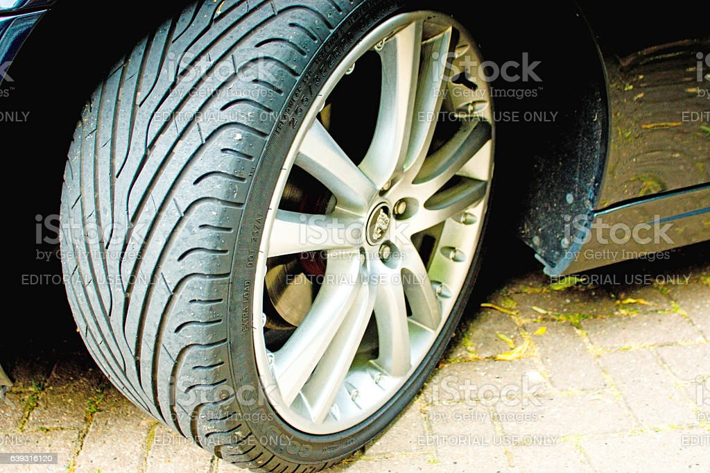 Jaguar XK convertible front tyre stock photo