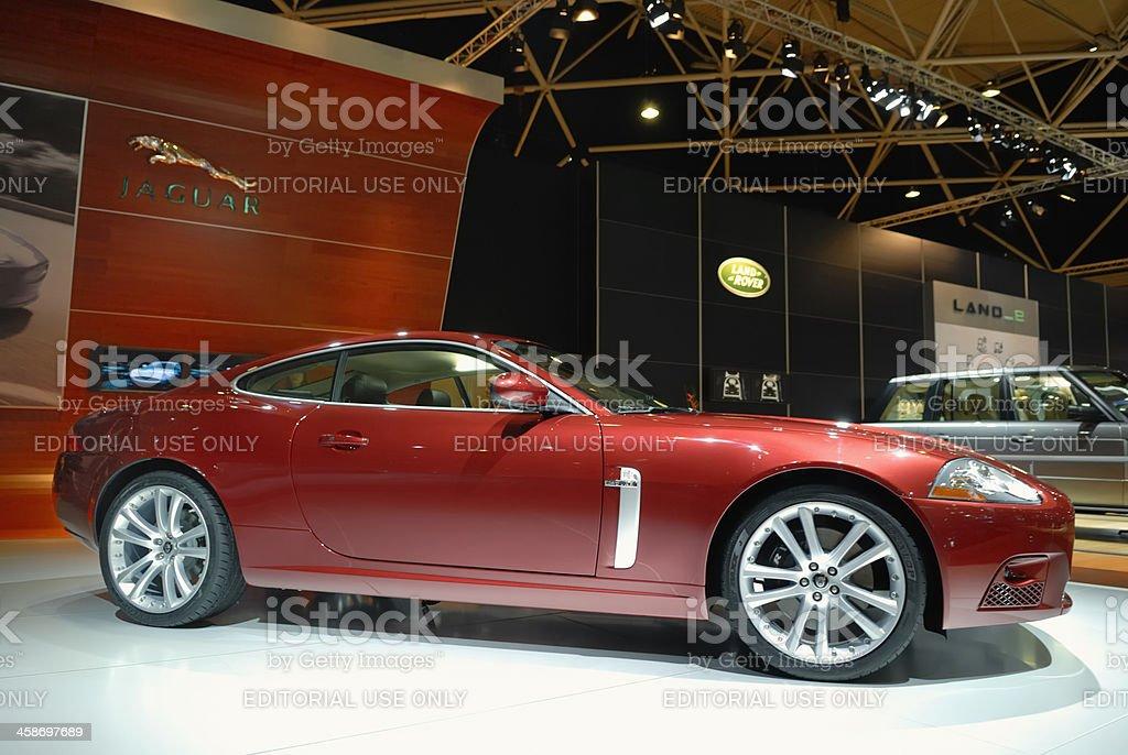 Jaguar XK coupe British sports car side view stock photo