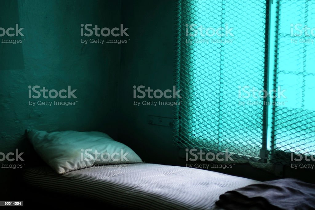 Jail bed stock photo