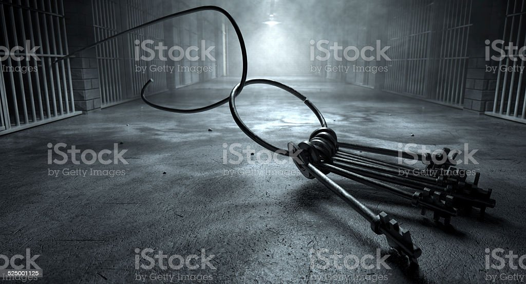 Jail Break Keys And Prison Cell stock photo