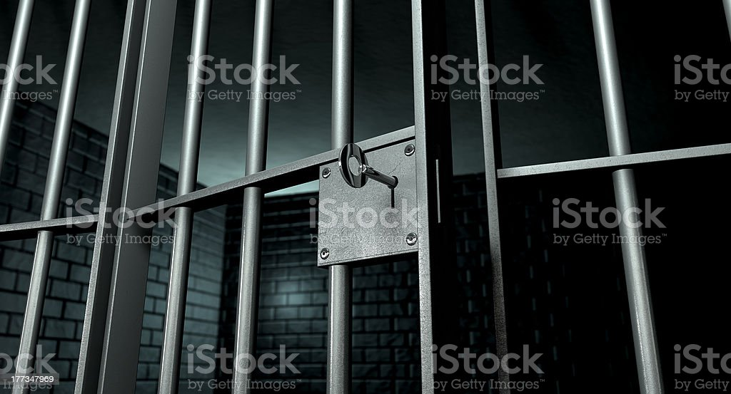 Jail Cell With Open Door stock photo