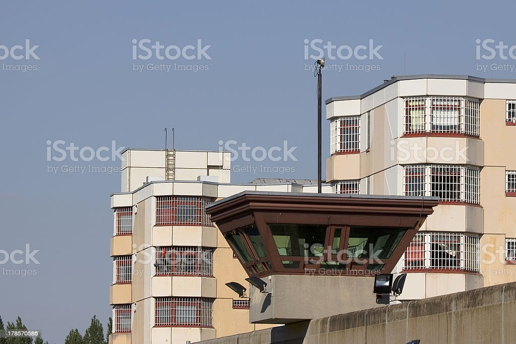 jail watch tower jailhouse in background 2 stock photo