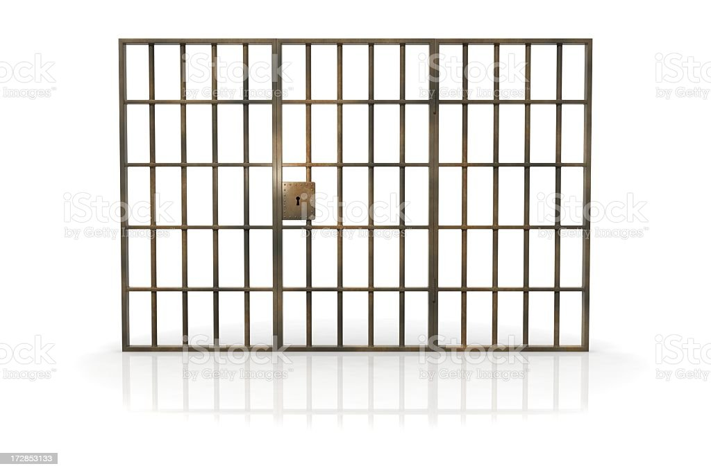 Jailhouse bars against a white background stock photo