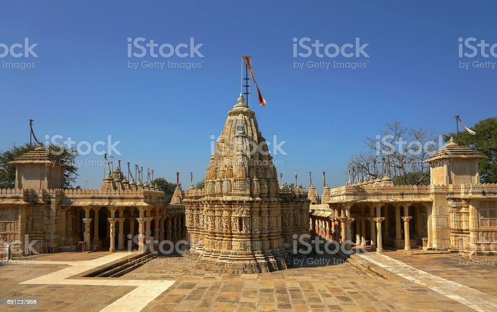 Jain Temple in ancient Fort Chittor, Chittorgarh city, Rajasthan, India. stock photo