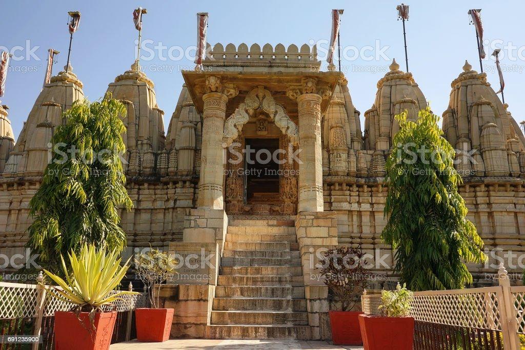 Jain Temple in Chittorgarh, Rajasthan, India. stock photo