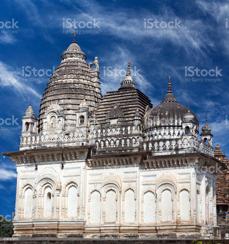 Jain temple in Khajuraho, India stock photo
