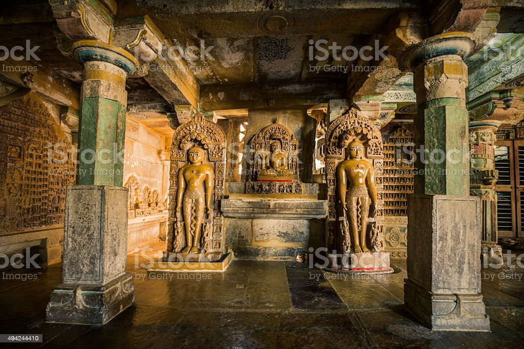 Jain temples complex in Jaisalmer Rajasthan India stock photo