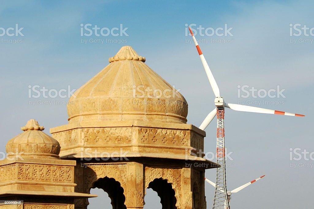 Jaisalmer, Cenotaphs and windmills royalty-free stock photo