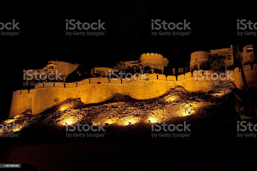 Jaisalmer Fort at Night stock photo