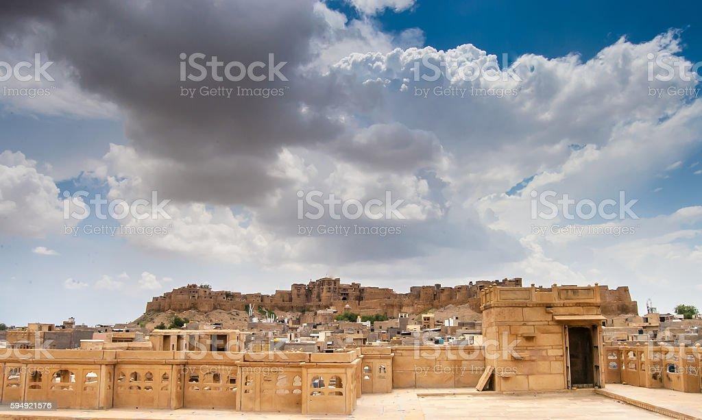 Jaisalmer Fort in Monsoon stock photo