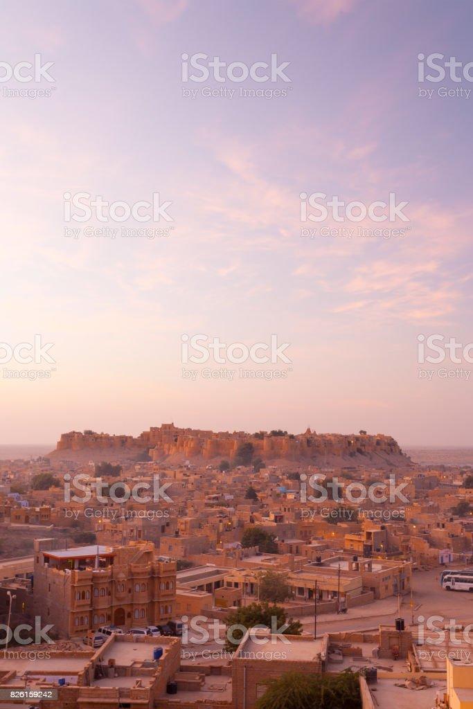 Jaisalmer Fort View Cityscape Morning Sunrise stock photo