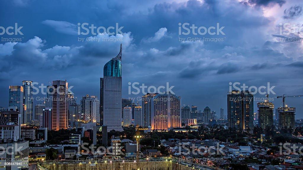 Jakarta city panorama stock photo