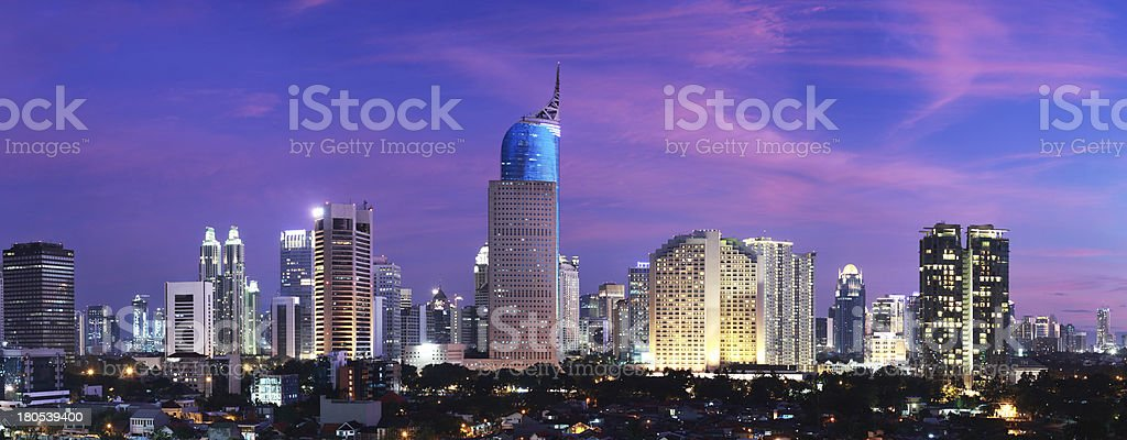 Jakarta City Sunset stock photo