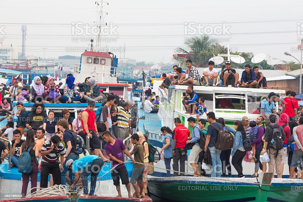 Jakarta ferry boats stock photo