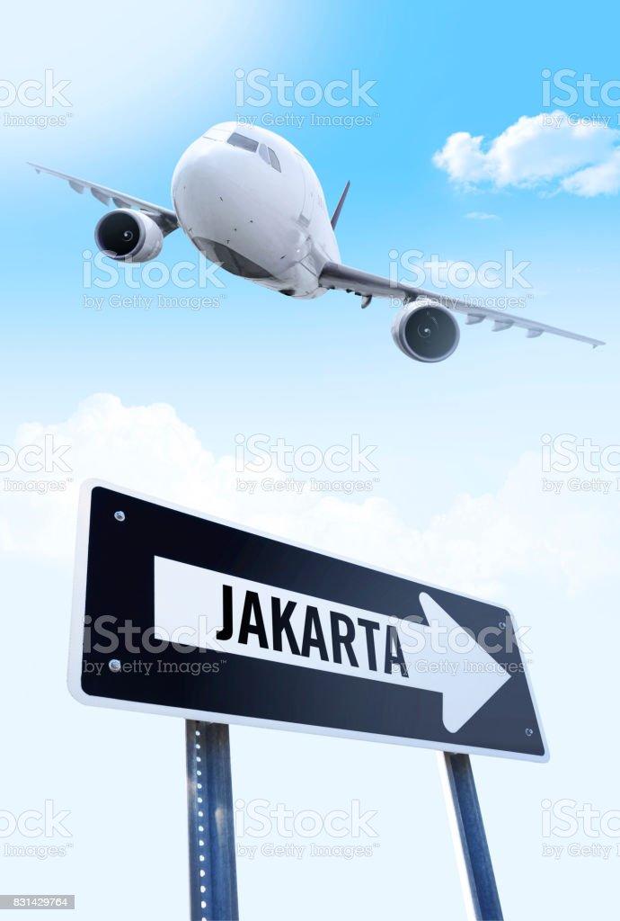 Jakarta flight stock photo