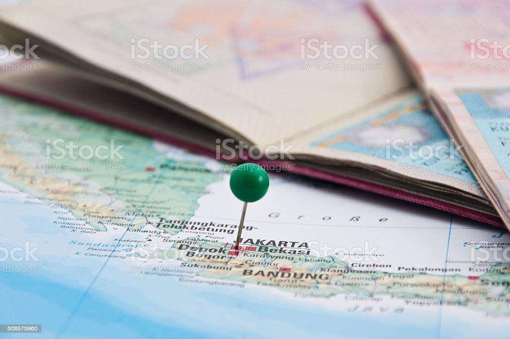 Jakarta, Java, Indonesia, GreenPin and Passport, Close-Up of Map stock photo