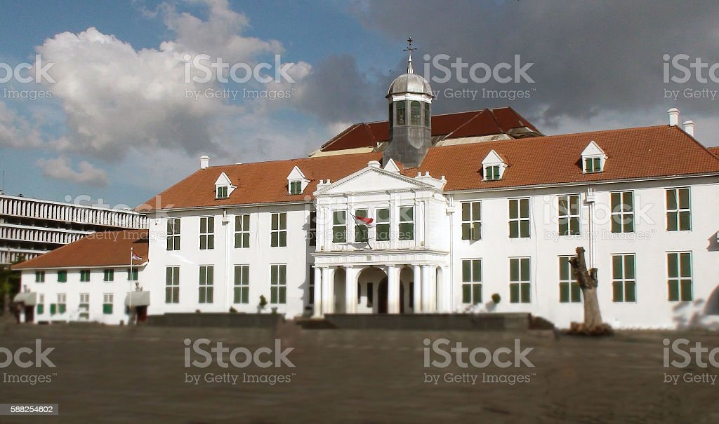 Jakarta Old City Hall Exterior View At Fatahillah Square.Indonesia.Southeast Asia stock photo