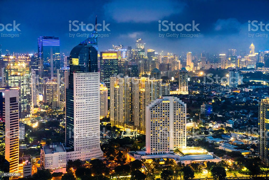 Jakarta skyline at dusk stock photo