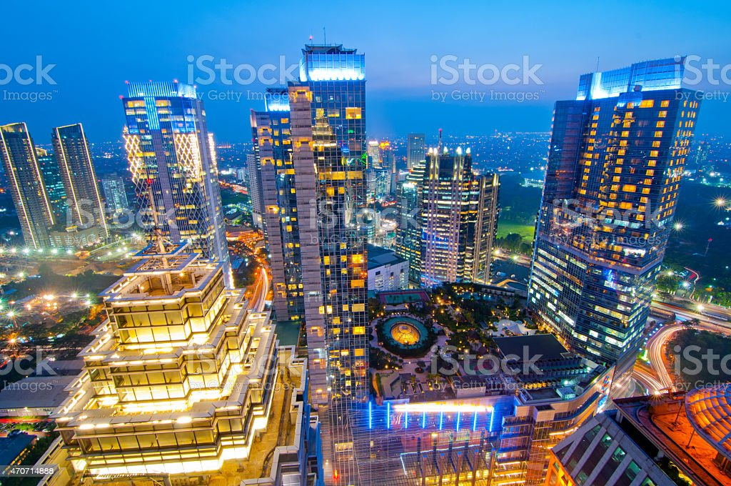 Jakarta Skyline HDR at Blue Hour stock photo