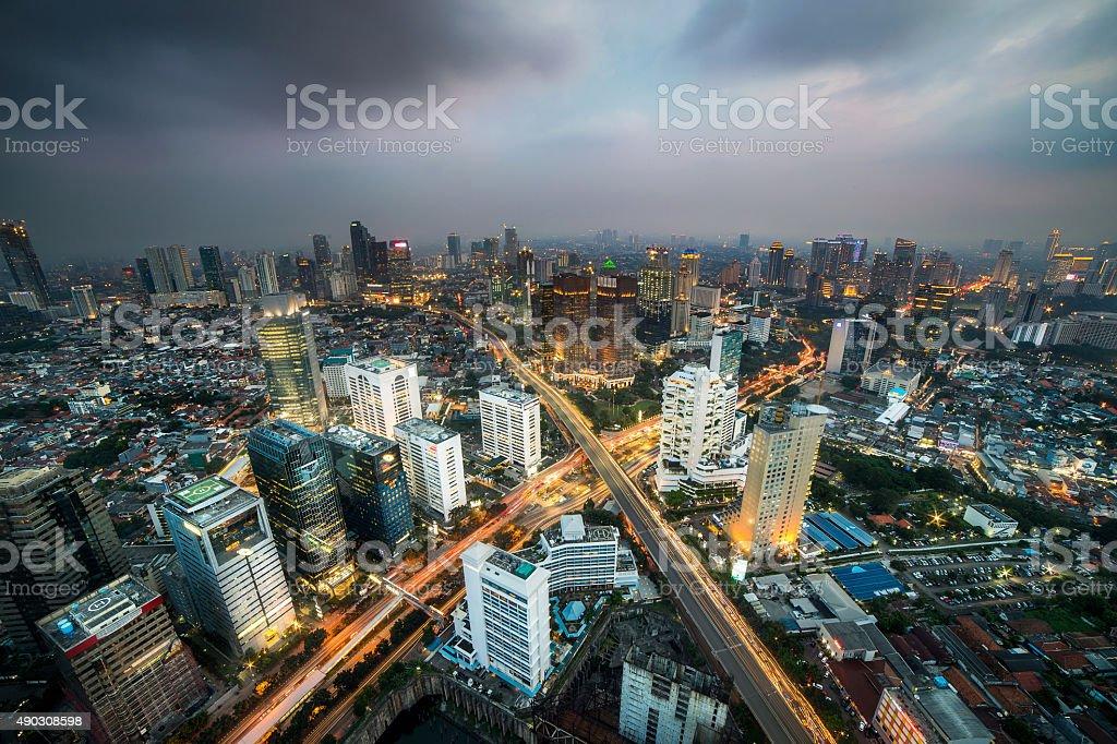 Jakarta X street junction stock photo