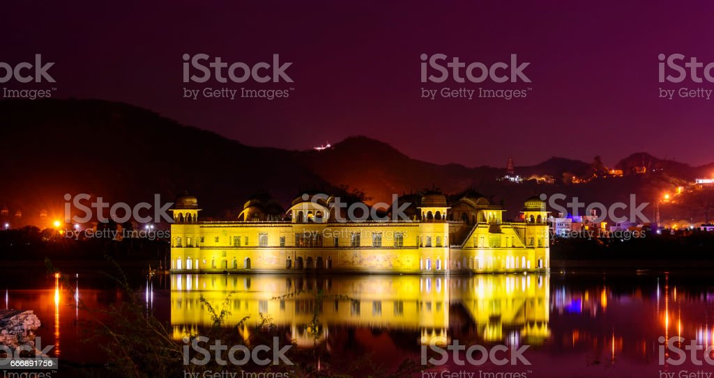 Jal Mahal (Water Palace) located in the middle of the Man Sagar Lake, Rajasthan stock photo