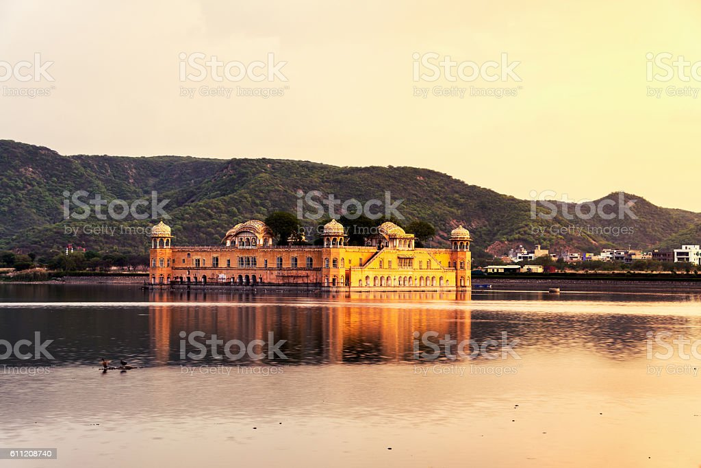 Jal Mahal palace at sunset in Jaipur, India stock photo