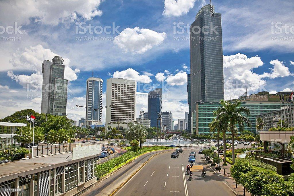 Jalan Bundaran HI center of Jakarta, Indonesia. stock photo
