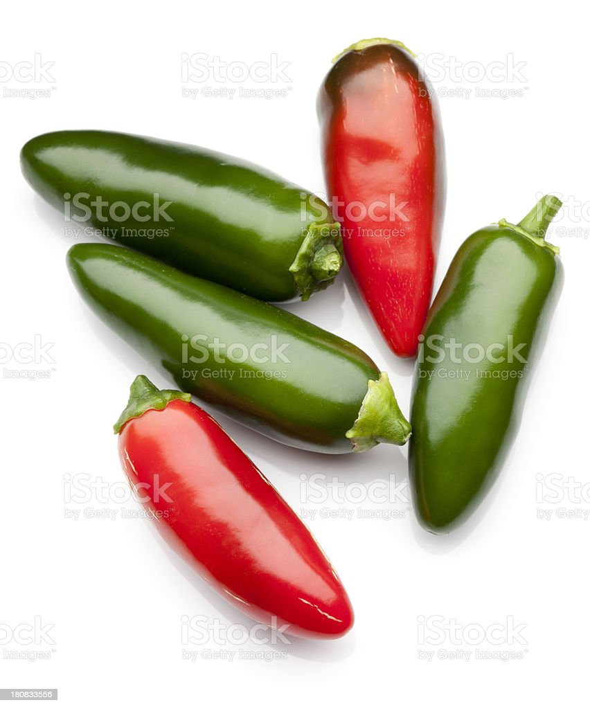 Jalapeno Peppers in Red and Green stock photo