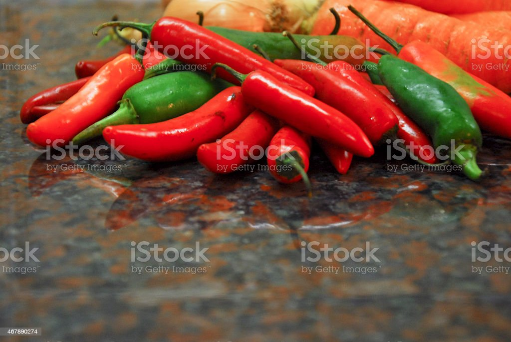 jalapeno peppers with carots stock photo