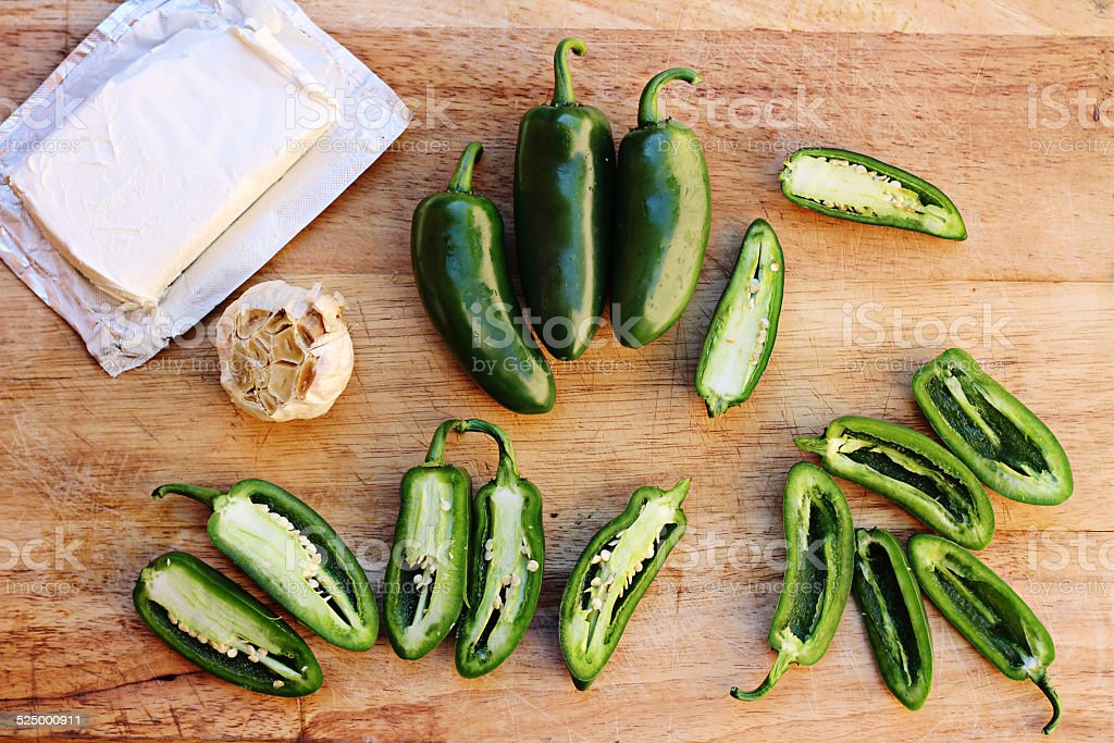 jalapeno popper ingredients cutting board stock photo