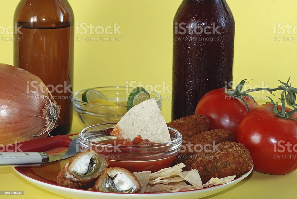 Jalapeno Poppers and Cold Beer stock photo