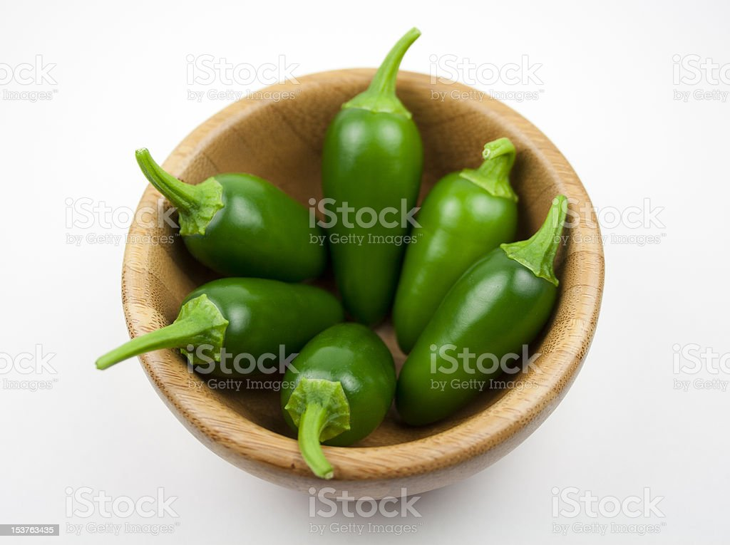 Jalapenos in a bowl stock photo
