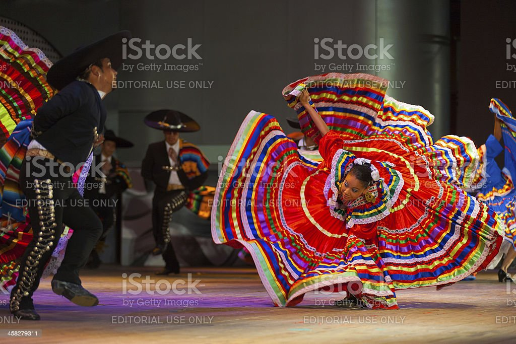 Jalisco Mexican Folkloric Dance Dress Spread Red royalty-free stock photo