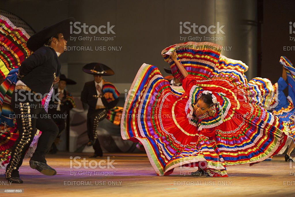 Jalisco Mexican Folkloric Dance Dress Spread Red stock photo