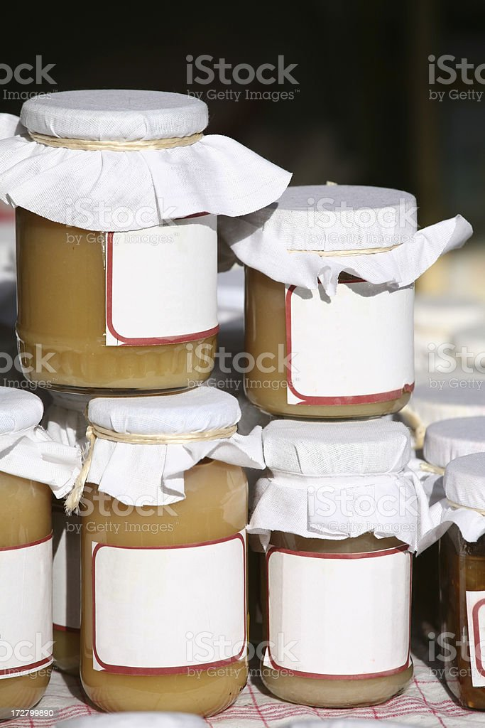 Jam jars with blank labels stock photo
