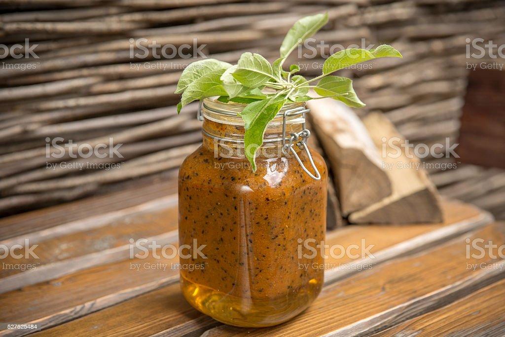 Jam  sea buckthorn and honey. stock photo