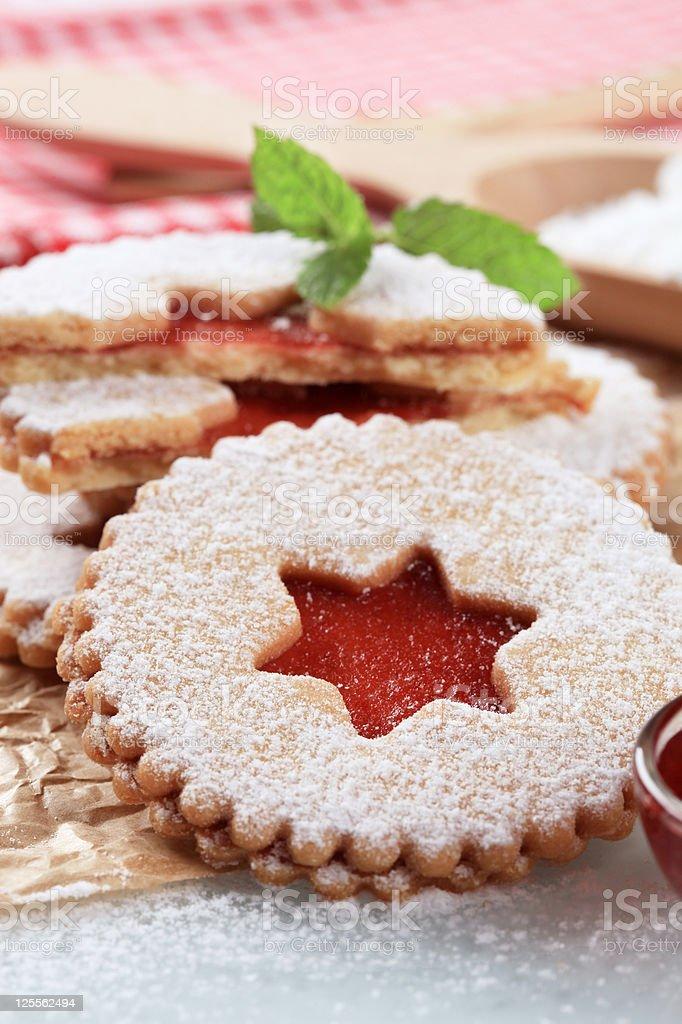 Jam shortbread cookies royalty-free stock photo