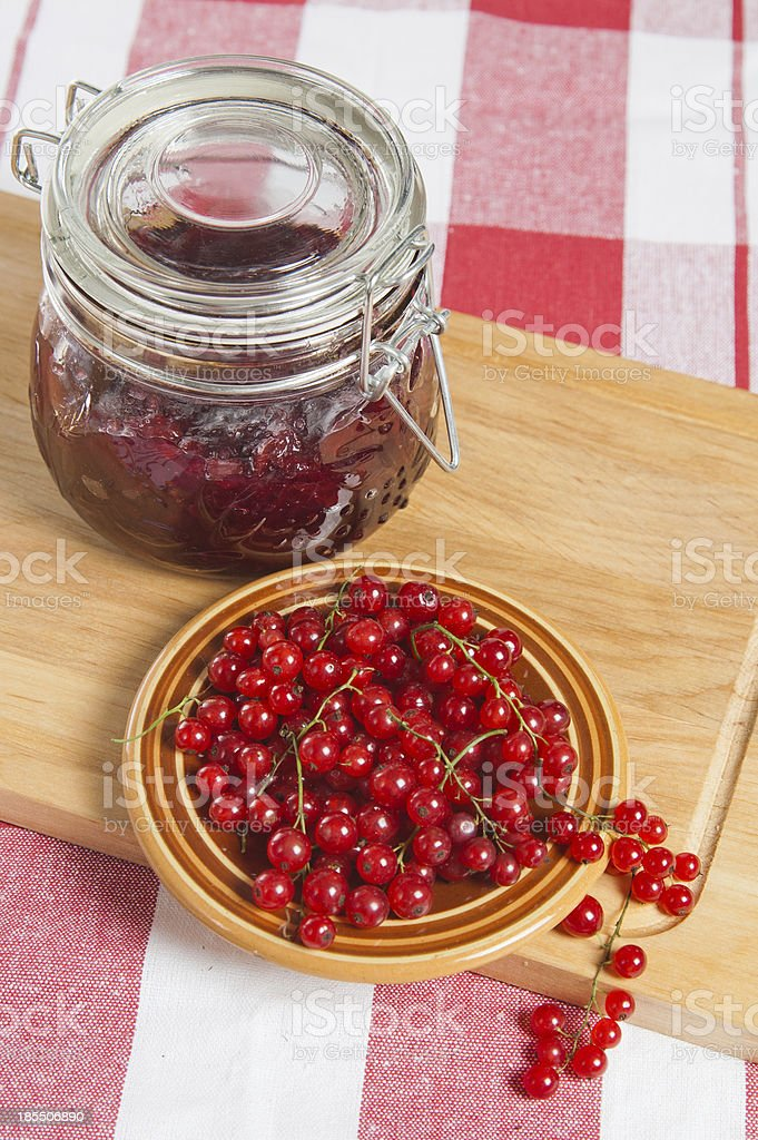 Jam with berries of a red currant royalty-free stock photo