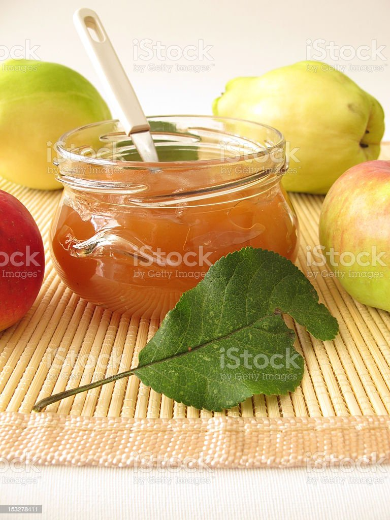 Jam with quince and apple stock photo