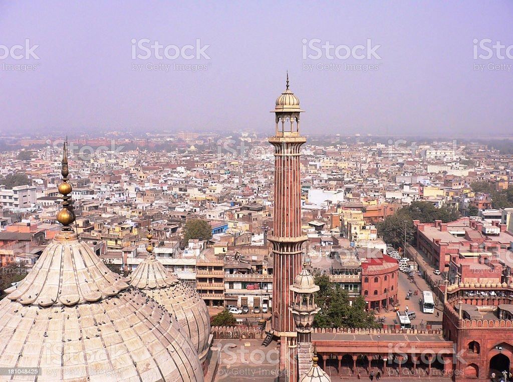 Jama Masjid and Delhi stock photo