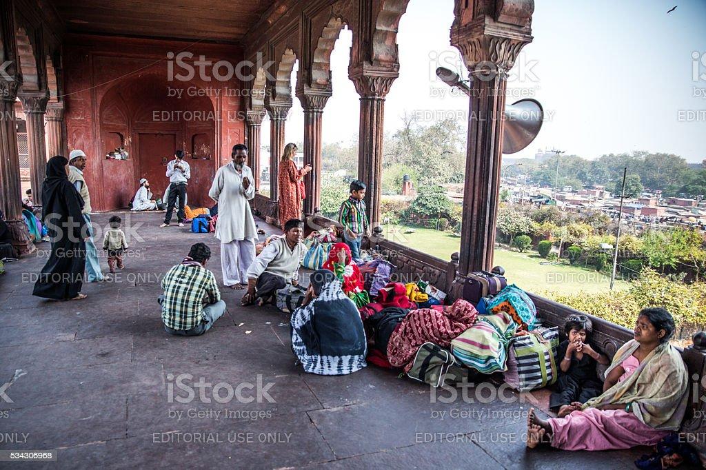 Jama Masjid Mosque visitors stock photo
