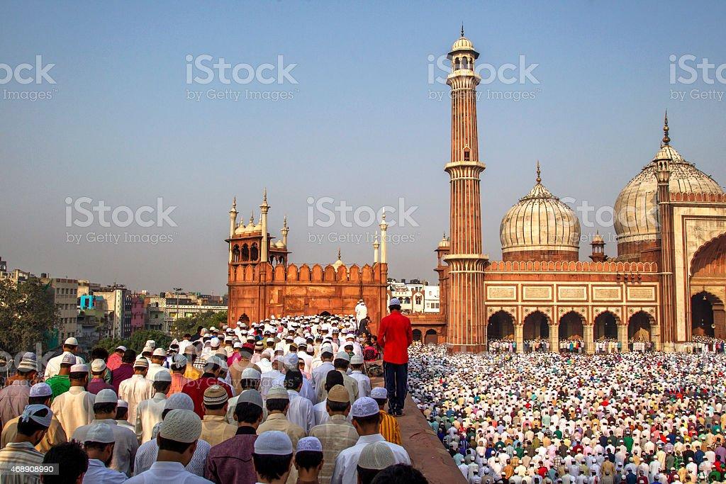 Jama Masjid, Old Delhi, India. stock photo