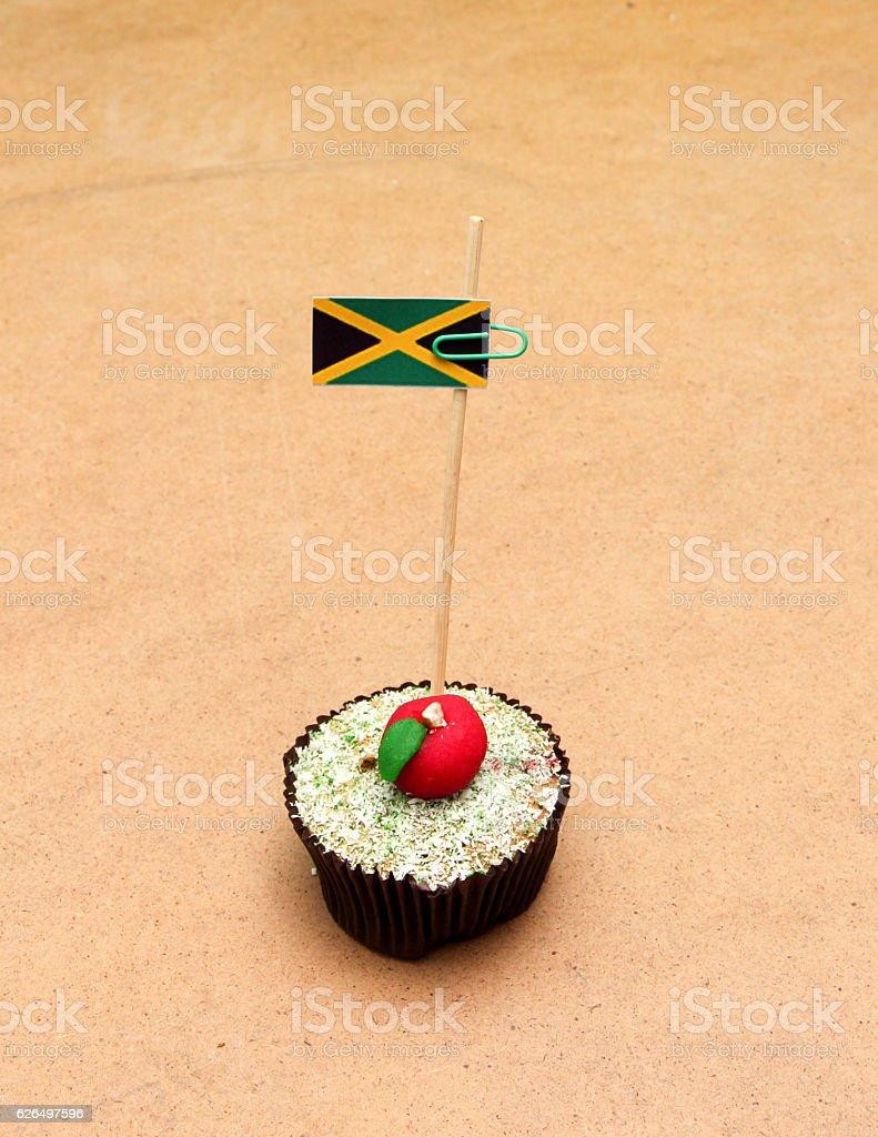 jamaica flag on a apple cupcake stock photo