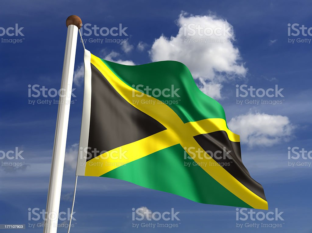 Jamaica flag (with clipping path) royalty-free stock photo