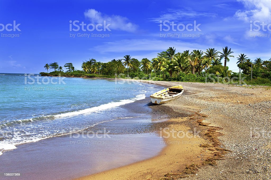 Jamaica. national boat on sandy coast of a bay stock photo