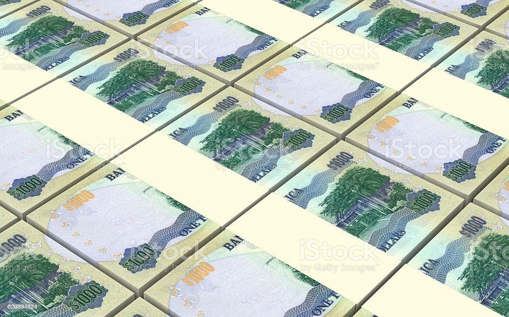 Jamaican dollar bills stacks background. stock photo