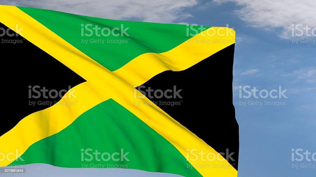 Jamaican Flag waving on wind stock photo