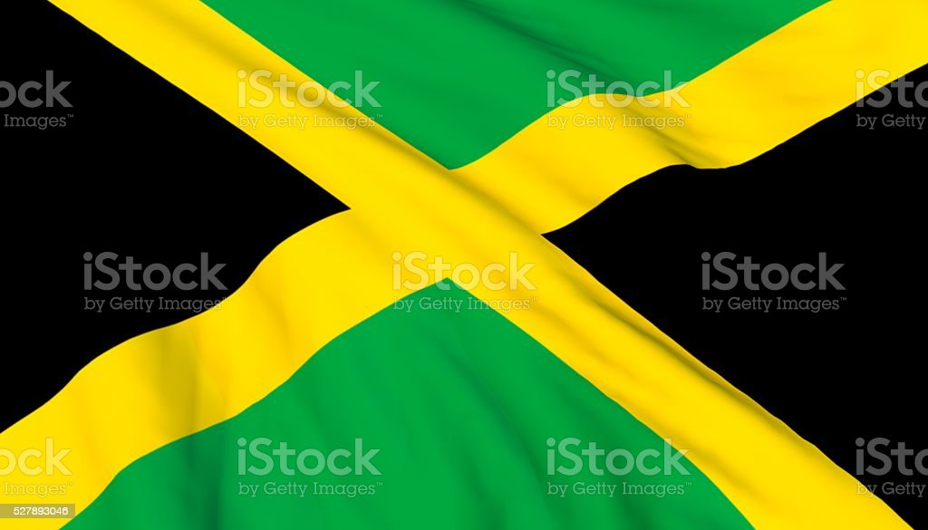 Jamaican Flag waving on wind stock photo