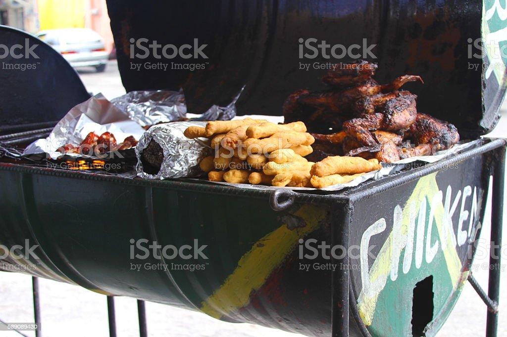 jamaican Jerk Chicken. Pan chicken stock photo
