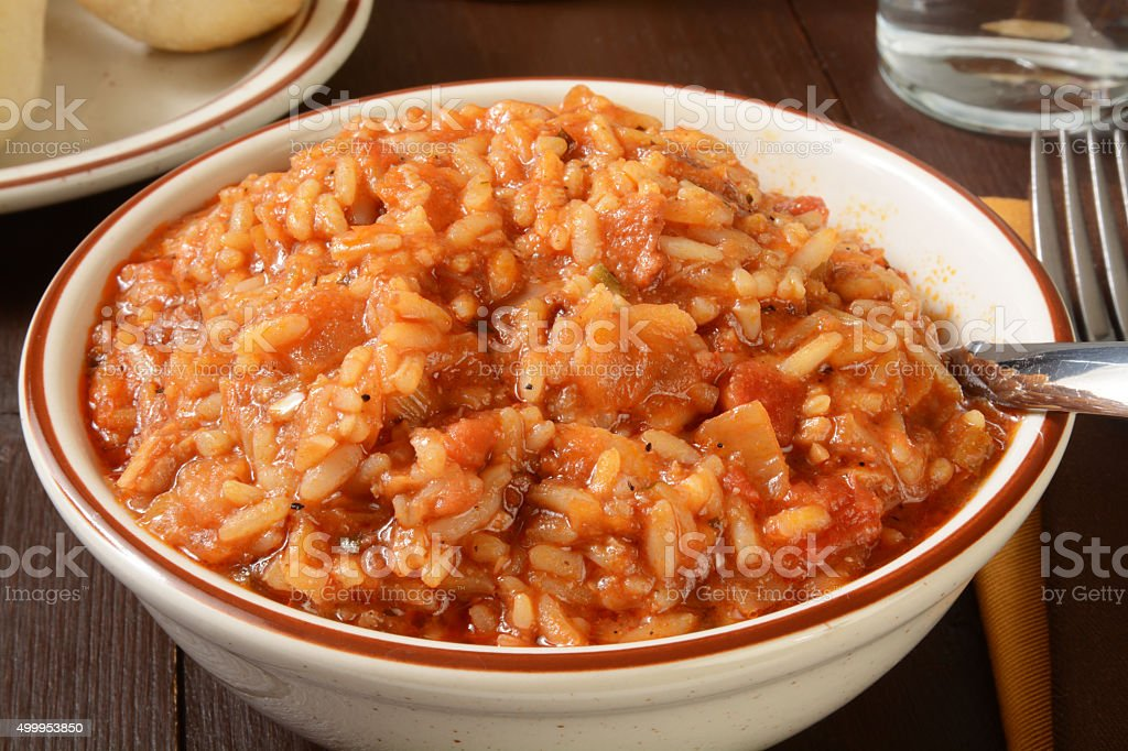 Jambalaya closeup stock photo